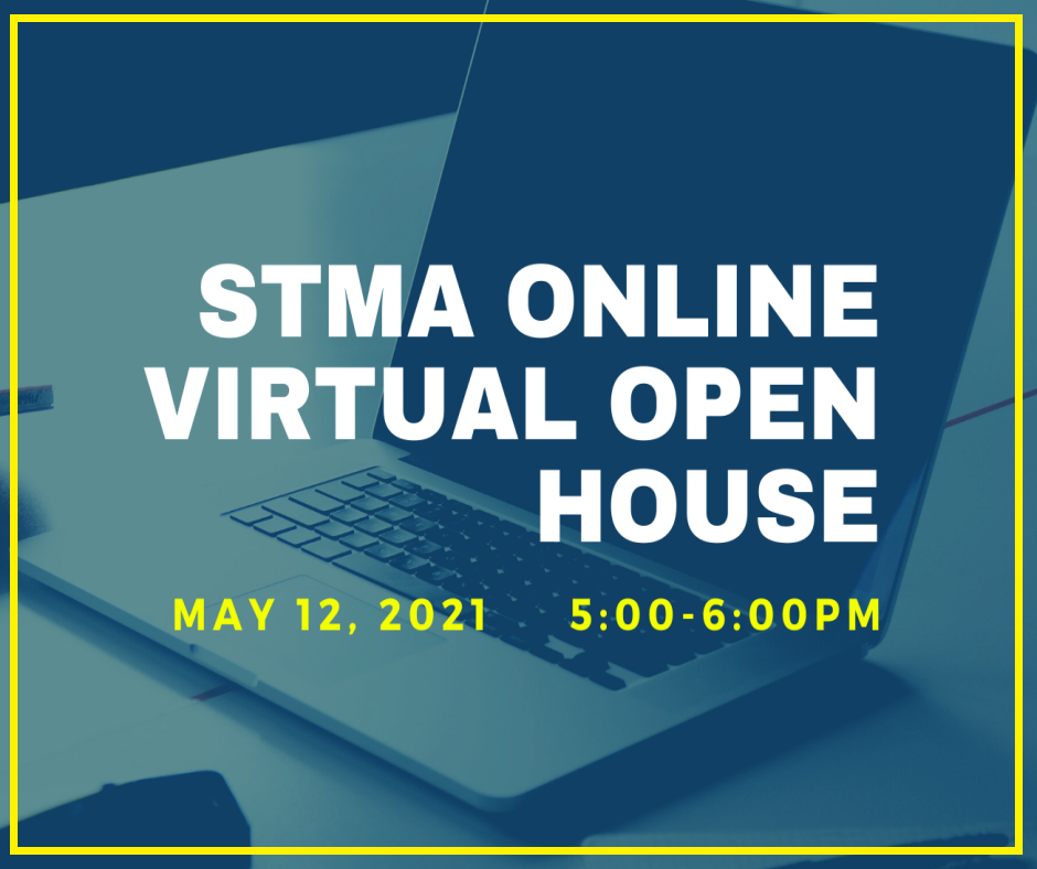 Block with a computer that reads STMA Online Virtual Open House  May 12  5:00-6:00Pm.