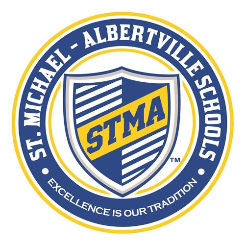 Image of a shield that reads STMA and St. Michael-Albertville Excellence is our Tradition